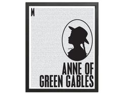 """Anne of Green Gables Silhouette Print - Contains the first 5873 words of """"Anne of Green Gables"""" by Lucy Maud Montgomery."""