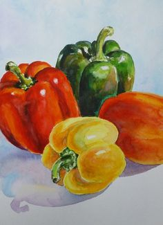 BELL PEPPERS Original watercolor painting by Akimova by irinart