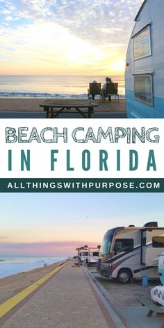 Oceanfront Camping on Beverly Beach Beach Rv Camping, Travel Trailer Camping, Florida Camping, Camping List, Camping Places, Camping Spots, Florida Travel, Camping Checklist, Rv Travel