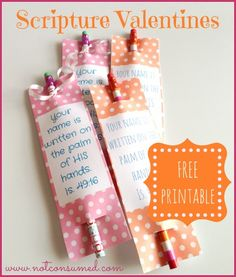 Non Candy Scripture Valentine Printables. Boy or girl, with pencil gift!