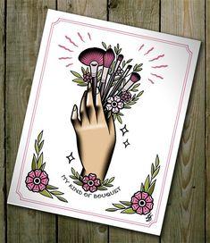 Traditional Tattoo Flash Make Up Brushes Bouquet Flower Tattoo Flash MUA Cute Di. - Traditional Tattoo Flash Make Up Brushes Bouquet Flower Tattoo Flash MUA Cute Digital Illustration - Hand Tattoos, Neotraditionelles Tattoo, Flash Tattoo, Tattoo Care, Flower Tattoos, Body Art Tattoos, New Tattoos, Sleeve Tattoos, Ship Tattoos