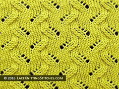 #Lace #knitting stitch of the Month - July 2016. Alternating Leaves on a background of stockinette.