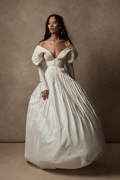 Whether you're a Meghan, Kate or Diana, this year's bridal fashion week provided plenty of royal wedding dress inspiration. Princess Diana Wedding Dress, Taffeta Dress, Beautiful Gowns, Pretty Dresses, Wedding Gowns, Ball Gowns, Bridezilla, Weddings, Future