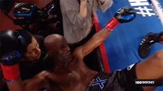 Bernard Hopkins former world champ comes back for one last hoorah. Gets knocked completely out of the ring. [4:04]