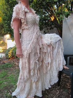 "vintage inspired shabby bohemian gypsy dress ...small to medium to 38"" bust..express 4 day shipping.."