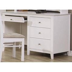 Coaster Home Furnishings Transitional Desk White * Click image to review more details.(It is Amazon affiliate link) #HomeOfficeFitting Office Desk, Office Furniture, Office Equipment, White Desks, Coaster Furniture, Discount Furniture, Selena, Youth, Storage Drawers