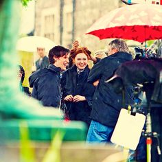 "Eleven + Amy Pond  |  Matt Smith + Karen Gillan  |  Doctor Who  |  Behind the scenes ""The Eleventh Hour"""