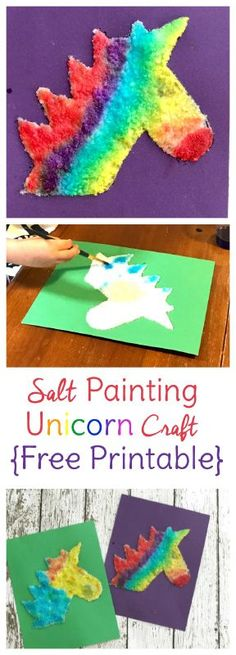 Watercolor Salt Painting Unicorn Craft for Kids
