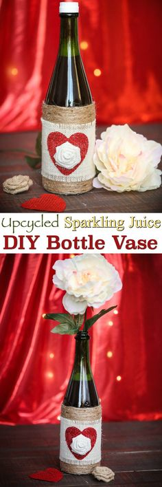 Try a DYI Sparkling Juice Bottle Vase: these upcycled bottles make excellent Valentine's Day gifts for friends, significant other or even a Teacher! Then later it can be used as an adorable vase for silk or fresh cut flowers! via @2creatememories