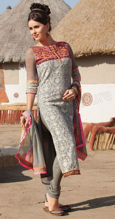 By Natasha Couture GREY SEMI CHIFFON SALWAR SUIT 1010