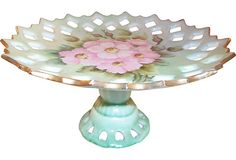 Hand-Painted Reticulated Compote