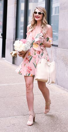 Pink Cold Shoulder Floral Wrap Dress | Spring Outfit Ideas | Style Inspiration | Wedding Guest Look | Visions of Vogue | What to Wear For Spring | Warm Weather Fashion | Ruffles | Date Night Outfit
