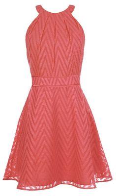 Coral Chevron Fit & Flare Dress // L.O.V.E. This!
