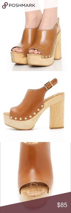 Sam Edelman open toe clogs Open toe clogs, wooden heels with studded sides. Brand new in box. Sam Edelman Shoes Mules & Clogs
