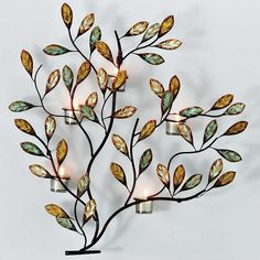 Multi-Colour Leaves With Tealight Holders Metal Wall Art