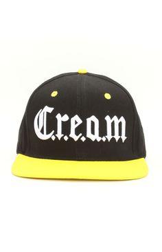Wu-Tang Brand, Cream Snap-Back Hat - Black