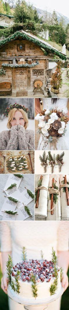 Rustic Mountain Winter Wedding Ideas and Inspiration | via junebugweddings - my ideal wedding would be similar ;o)