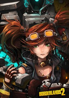 Anime style Borderlands 2 art featuring Gaige