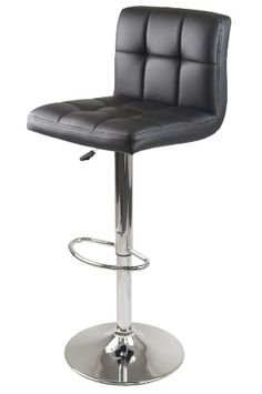 Stockholm Air Lift Stool, Swivel Square Grid Faux Leather Seat, Black