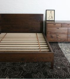 The Mills Bed from BDDW (shown here in American black walnut with a hand-rubbed dark oil finish) is also available in white oak.