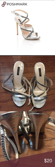 Shoemint silver chain heels Worn twice. There are some dents on the back but still have a lot of wear in them. Shoemint brand (which was made by Steve Madden). Steve Madden Shoes Heels