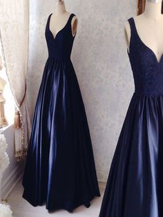 Long Custom Prom Dress, Navy Simple Prom Dresses,
