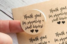 Thank you for supporting a small business sticker details: • These stickers are a thoughtful way to thank your customers! • They measure 1.25 inches in diameter and are sold per sheet. • Each sheet has 48 labels. (Quantity 1 = 48 stickers) • Available in WHITE paper or BROWN Thank You Labels, Thank You Stickers, Thank You Gifts, Etsy Business, Craft Business, Bakery Business Cards, Business Thank You Notes, Thank You Customers, Craft Packaging