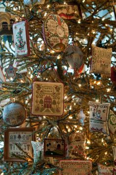 Cross Stitch Sampler Christmas Tree ~ Display your handmade needlework on a Christmas tree or a Holiday themed tree year round for a great country and primitive design.