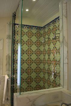 Custom Hand Painted Tiles Installed In Master Bathroom Shower Miznerindustries Bathroomtile