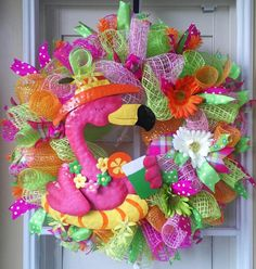 TROPICAL SUMMER WREATH Beach Pink Flamingo by OfftheWallKreations, $83.95 Pink Flamingos, Flamingo Decor, Flamingo Party, Deco Mesh Wreaths, Door Wreaths, Nautical Wreath, Summer Deco, Paper Umbrellas, Fru Fru