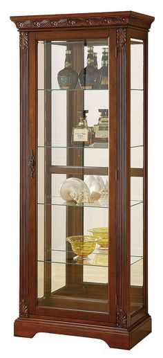 Acme Furniture Addy Collection 90062 29 Inch Curio Cabinet with 4 Glass Shelves, Back Mirror, Tempered Glass, Metal Hardware, Cabinet Light and Wood Construction in Cherry Finish Glass Curio Cabinets, Glass Shelves, Showcase Cabinet, Cheap Closet, Cabinet Dimensions, Acme Furniture, Cabinet Design, Wood Glass, Youtube Woodworking