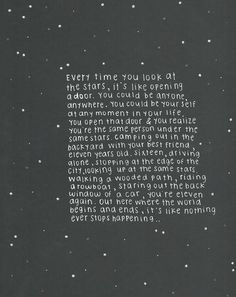every time you look at the stars...