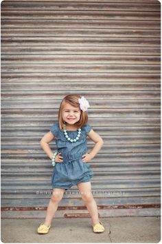 Cute colors, cute accessories, cute outfit, and darling little girl.  I would totally wear a romper like that in my size!