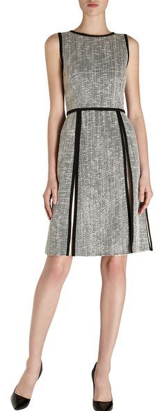 those panels open up to the waist, to show a crisp white. Fendi Tweed Sleeveless Crewneck Dress