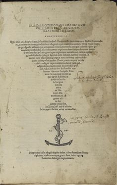 Aldus Manutius Erasmi Roterodami Adagiorum Chiliades tres ac centuriae