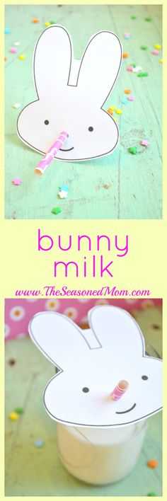 Use this free printable to make a simple 2-minute Bunny Milk straw for your child's Easter beverage!