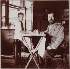 Alexei and Emperor Nicholas II ~For the last weeks of his life, Alexei was confined to a wheelchair.