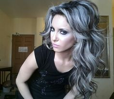 love the silver and black hair