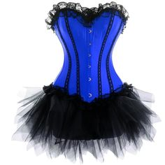 Blue Lace Burlesque Corset Dress Skirt