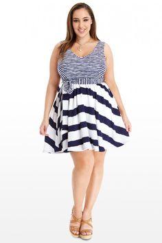 Plus Size Hyper Stripe Flare Dress   Fashion To Figure