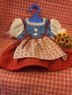 Schildkroet-Puppenkleidung-Gr-41-Dirndl-rot-blau