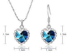"[Flower's Secret (TM)] Swarovski Elements Crystal Heart of the Ocean Titanic Necklace 18"" and Earrings 3-piece Set"