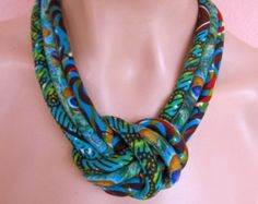Tribal Jewelry knot necklace Fabric Bib necklace green by nad205