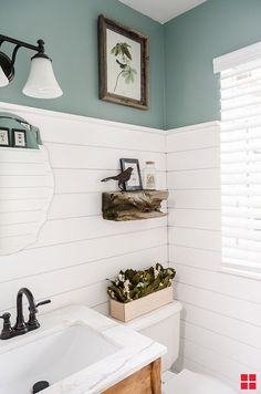 Protect against mold and mildew and update your bathroom shiplap with Zinsser Pe., against mold and mildew and update your bathroom shiplap with Zinsser Perma-White Mold & Mildew Proof Interior Paint. Diy Bathroom Decor, Bathroom Renos, Bathroom Renovations, Bathroom Interior, Modern Bathroom, Bathroom Ideas, Bathroom Cabinets, Industrial Bathroom, Paint Bathroom