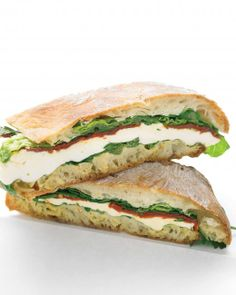 Pressed Mozzarella and Tomato and Romaine on Ciabatta with Dijon