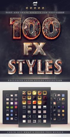 100 Layer Styles Bundle - Text Effects Set