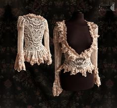 Lace cardigan Victorian inspired blouse ivory by SomniaRomantica