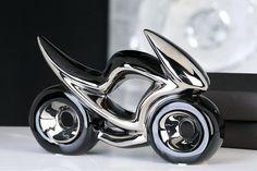 Dizajnová porcelánová motorka čiernostrieborná Bike Chopper, Cufflinks, Statue, Parfait, Accessories, Ebay, Decor, Contemporary, Universe