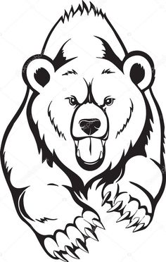 easy bear drawing grizzly drawings animals for attachment - bear face drawing Bear Face Drawing, Grizzly Bear Drawing, Grizzly Bear Tattoos, Art D'ours, Urso Bear, Bear Coloring Pages, Wood Burning Patterns, Stencil Art, Animal Tattoos
