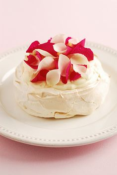 Pavlova ~ Rose & Vanilla Bean Pavlovas  ~ Recipe and image by Genevieve Knights from the Pavlova Cookbook now available on Kindle.